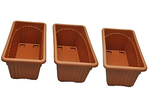 First-Smart-Deal-13-Inch-Rectangular-Planter-Pack-of-3-Brown
