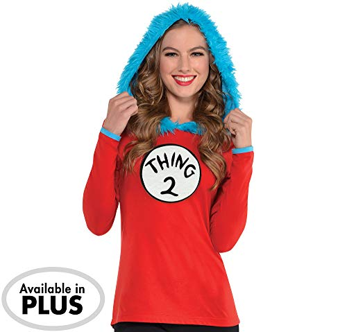 Kostüme USA Dr. Seuss Adult Thing 1 & Thing 2 Kapuzenshirt Langarm Shirt für Damen, Large/XL, inkl. 2 Patches