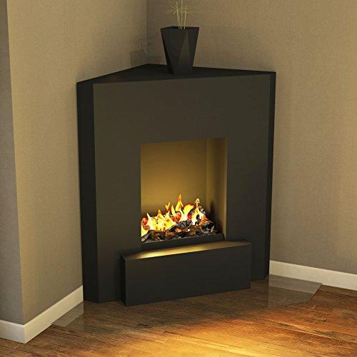 muenkel Diseño Nook [Chimenea eléctrica, Opti de Myst, Sala esquina]: Negro Gris–sin calefacción, con madera de decoración (ommod 400)