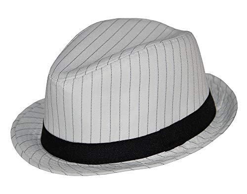 Foxxeo weißer 20er Jahre Nadelstreifen Hut Größe 58
