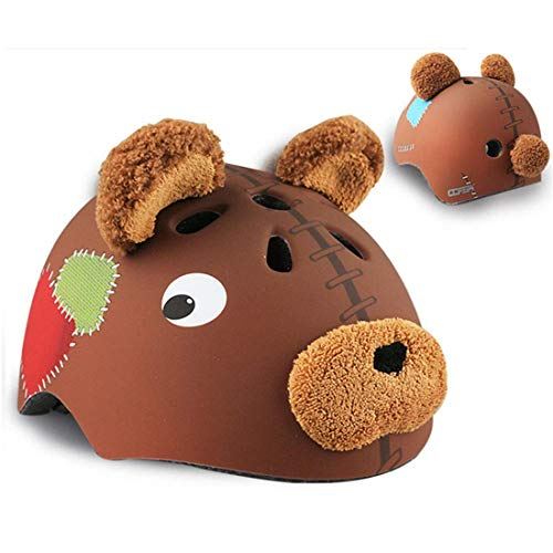 YXNB Kinderfahrradhelm Braunbär 3D Sicherer Fahrradhelm Kinder Helm Rollerhelm für Kinder Baby Mädchen Jungen,S50~54cm