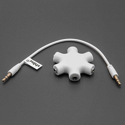 vhbw Audio Splitter, Klinkenverteiler 5-fach weiß inkl Klinken-Kabel für Kopfhörer, Smartphone, CD / DVD-Player, MP3-Player