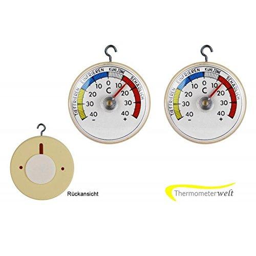 Thermometerwelt 2 Stück Set Kühlschrankthermometer zum ankleben oder aufhängen mit Metall Haken , Analog 4947