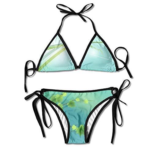 Green Bamboo Leaf Women's Tie Side Bottom Bikini Suits Two Pieces Swimwear -