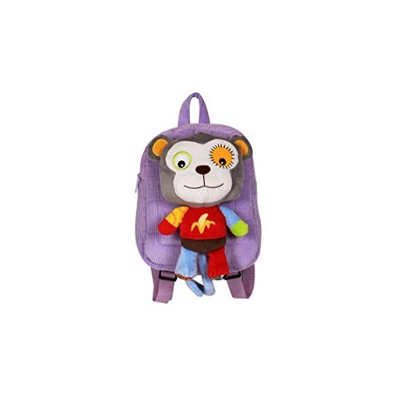 N&M Monkey Small School / Picnic Bag /Backpack with Detachable Toy - Purple