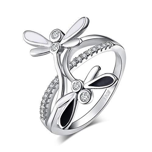 JewelryPalace Sterling Silber 925 Doppel Libelle Infinity CZ Pflastern Split Zirkonia Cubic Ring