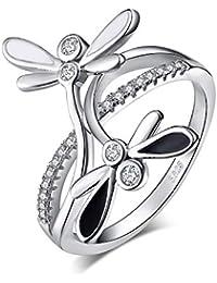 0595ff2eba53 JewelryPalace Anillo Double libélula Infinito CZ Pave división Shank  Zirconia cúbica ...
