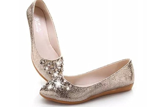 YCMDM Femmes Simple Chaussures Mode Chaussures Et Chaussures Gold