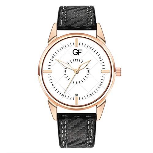 Huacat Herren Business Uhr Band Chronograph Quarz Uhr Männer Damen Armbanduhr Ultra-flach Slim-Uhr mit Leder-Armband Herrenuhr