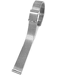 14 mm de acero inoxidable delgado malla de pulsera de pulsera de la banda de plata