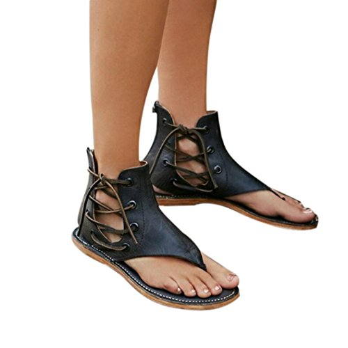 Frauen Urlaub Strappy Sandalen feiXIANG Damen Retro Outdoor Party Club flach Sandalen (41, Schwarz)