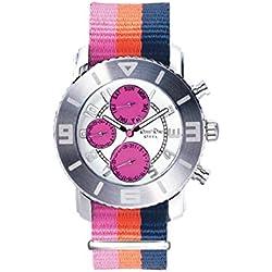 Ross Rino Chamäleon (Sternbild) Unisex Quarzuhr mit Rosa Zifferblatt Analog-Anzeige und rosa Nylon Armband