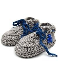 Magic Needles Autumn Winter Woolen Handmade Turkish Yarn Hand Knit Crochet Baby Ankle Boots (6-12 mths Toe to Heel 12 cms, 4301 Baby Boys Light Brown)
