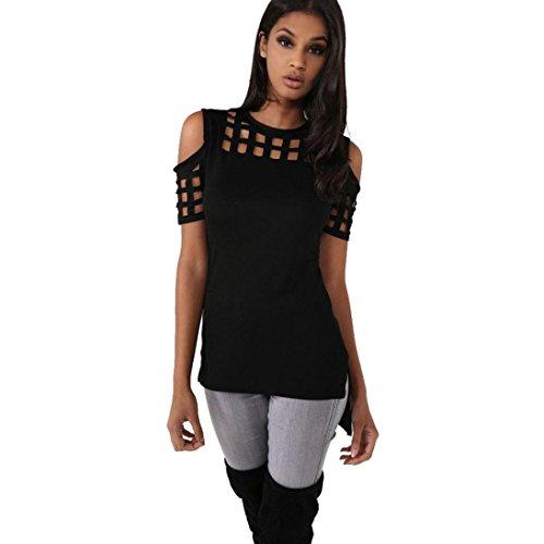 TWIFER Mode Trägerlos Aushöhlen Kurzarm Casual T-Shirt Tops Unregelmäßige Bluse (XL, Schwarz) (T-shirt Out-Ärmelloses)
