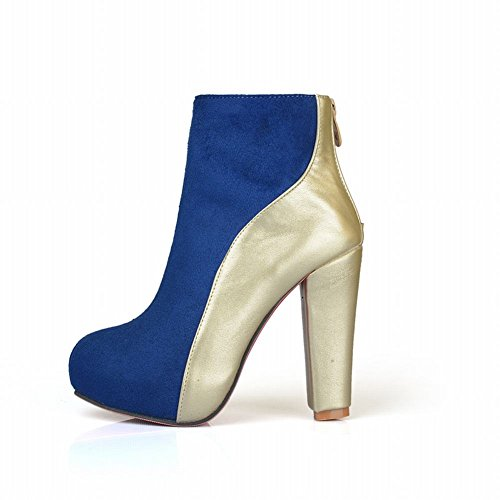 Mee Shoes Damen mehrfarbig high heels Plateau Reißverschluss Stiefel Blau