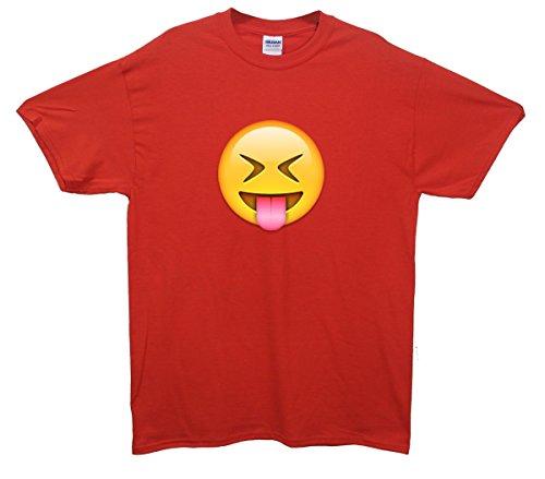 Tongue Out Face Emoji T-Shirt Rot