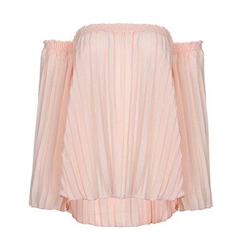 TWIFER Damen Oberteile Off Shoulder Hemd Chiffon Plissee Bluse T Shirt (Plissee-rüschen-jacke)