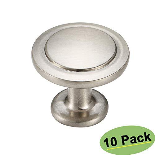 Homdiy Schrankknäufe HD6050 runde Schubladenknöpfe für Schranktüren, 10 Stück Modern 10 Pack Nickel Round Knobs - Runde Cabinet