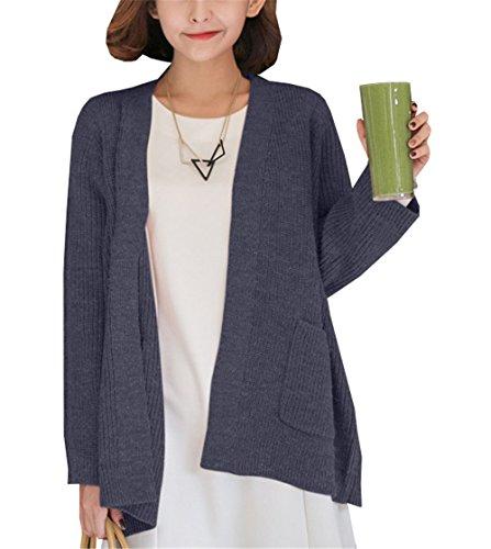 COCO clothing Solida Colore Cardigan Donna Sweater a Manica Lunga Largo Lana Cappotto Caldo Maglione Parka Casual Grandi Giacca Signora Autunno Blu