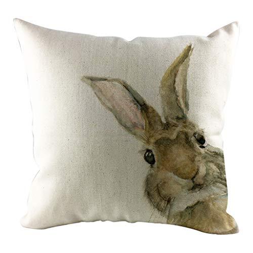 Dasongff Ostern Kissenbezug 45x45 Vintage Kissenhüllen Osterhase Kissen Kaninchen Tier-Motiv Wurfkissen (A1, 45cm x 45cm)