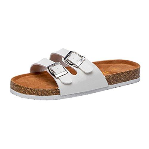 ZKOO Ete Chaussons Femme Fille Liège Semelle Sandales Chaussures de Plage avec Sangle de Cheville Boucle Confort
