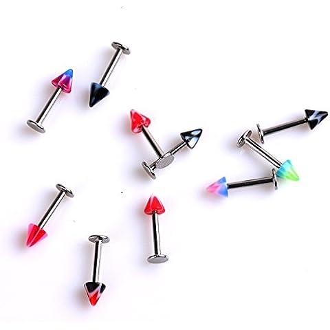 10 Piezas Piercing Cuerpo Ceja Oreja Labio Círculo Multicolor 3mm