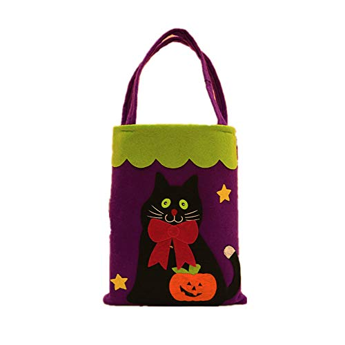 Yzibei Interessant Halloween Dekorationen Handtaschen Arkaden Hotel Kekse Apple Geschenkbeutel (Farbe : Black cat)