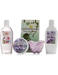Gloss! Coffret Baignoire de Bain Flower Lavande, Magnolia et Fleurs de Cerisier 5 Pièces