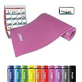 POWRX Gymnastikmatte Trainingsmatte Pilatesmatte Yogamatte Phthalatfrei 190 x 60 x 1.5 cm Oder 190 x 100 x 1.5 cm | Verschiedenen Farben | inkl. Trageband (Pink, 190 x 100 x 1,5 cm)