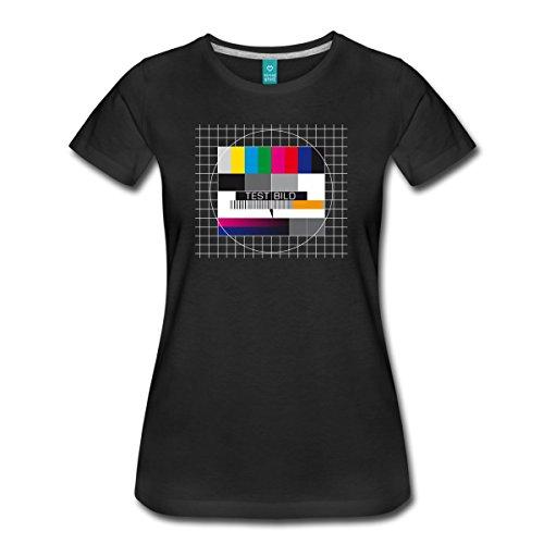 Spreadshirt TV Testbild Fernseher Retro Frauen T-Shirt, L, Schwarz