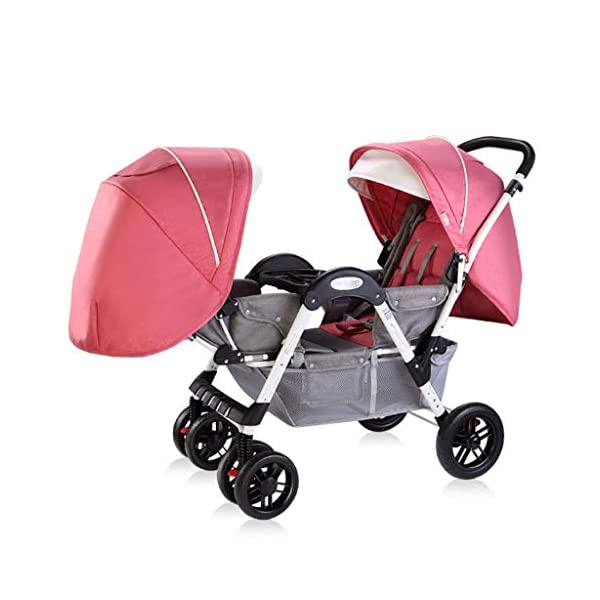 Twin Baby Stroller, 2 Baby Umbrella Caravans, Sit Lie Down, Light and Easy to Fold, Stroller Hjd-Strollers  2