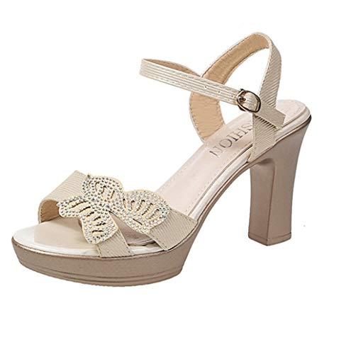 Sandali Donna,HOOPERT Women Ladies Summer Fashion Peep Toe Causal Single Shoes Sandals Sandali da Spiaggia Estivi Sandali da Spiaggia Estivi Moda (38 EU, Nero)