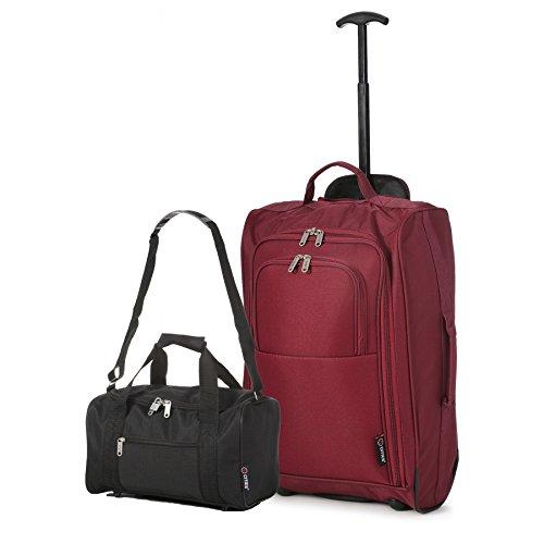 Ryanair Cabine 55x40x20 cm & deuxième sac de transport Ryanair 35x20x20 - Emmenez les deux! (Du vin + Noir)