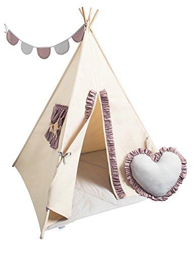 Cozydots Fatta A Mano Tenda Tipi In Tela Per Bambini Per Giocare Cozy Teepee, beige marrone,tipi set