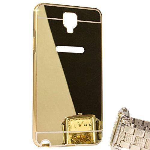 DMG Ultra Luxury Air Aluminum Metal Bumper Detachable + Mirror Hard Back Case for Samsung Galaxy Note 3 Neo (Gold)