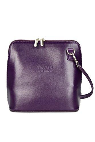 Belli ital. Ledertasche Damen Umhängetasche Handtasche Schultertasche - 17x16,5x8,5 cm (B x H x T) (Lila)