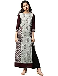 "Jaipur Kurti Women Green Booti Print A-line With Front Slits 53"" Length Cotton Kurta"