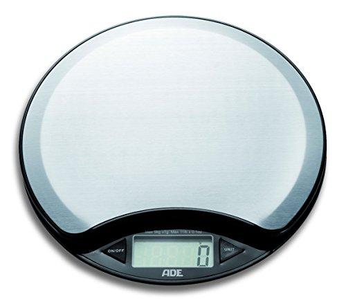 ADE Digitale Küchenwaage KE 854 Anja. Runde elektronische Waage mit Wiegefläche aus Edelstahl für präzises Wiegen bis 5kg. Mit Raum-Thermometer, Zuwiegefunktion Tara. Inkl. Batterie. schwarz - silber