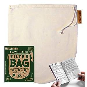 Nussmilchbeutel Eco aus Natur Baumwolle NECTARBAR Handgefertigter Filterbeutel/Seiher für pflanzliche Drinks, vegane Nussmilch, Passieren, Entsaften | 100% Plastikfrei RAW FOOD FILTER BAG + Anleitung