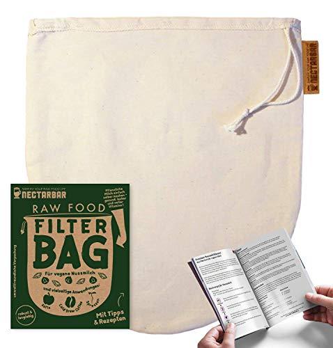 Nussmilchbeutel für vegane Milch von NECTARBAR (Eco) - Hergestellt in Deutschland - Seiher / Filterbeutel für Mandelmilch, als Entsafter, Käsetuch, Passiertuch und zur Sprossenzucht - RAW FOOD FILTER BAG (Nut Milk Bag) - Plastikfrei mit Anleitung - Verpackung: Deutsch
