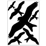 Vogel Aufkleber gegen Vogelschlag, 6 Warnvögel zum Aufkleben als Vogelschutz und Fensterschutz, Vogelschreck Aufkleber, schwarz, als A4 Bogen, für Fenster, Wintergarten und Glasscheiben