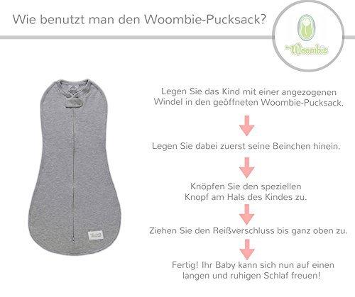 Woombie Air Roses - Kuscheliger Pucksack aus Bio-Spandex-Baumwolle für Neugeborene im Alter von bis zu 3 Monaten mit einem Gewicht von 2,5-6 kg
