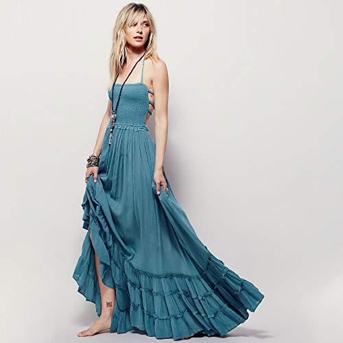 Lixibei Open Back Solid Color Dress, Women es Halter Bohemian Beach Dress Cotton Sling Dress,Blue,M