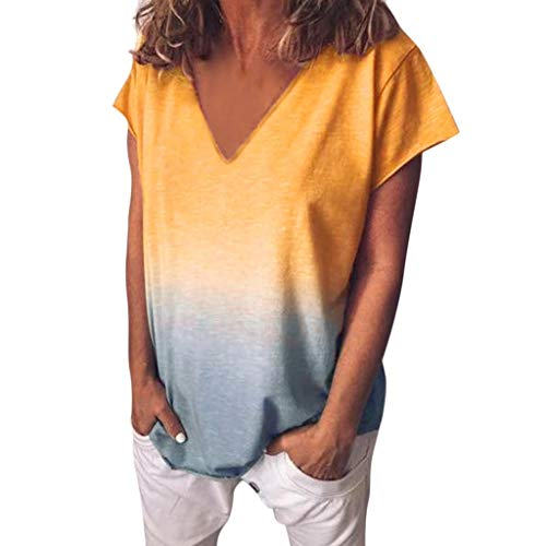 Lulupi Damen Kurzarm T-Shirt Farbverlauf Elegant Blouse Sommer Lose V Ausschnitt Shirt Tees Oberteile -