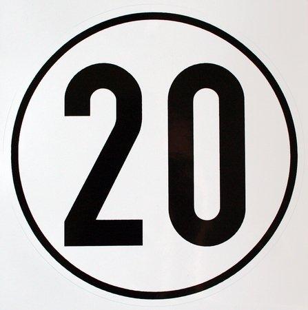 Geschwindigkeitsschild 20 km/h, Hinweisschild für Kraftfahrzeuge (zulässige Höchstgeschwindigkeit), ALU geprägt, Ø 200 mm, zur Anbringung an das Fahrzeug 20 km/h