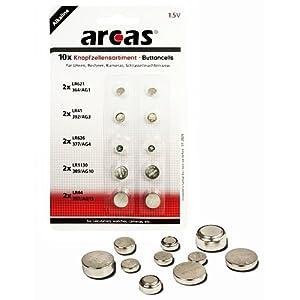 ARCAS® Knopfzellen-Sortiment Alkaline 1.5 V – 10-teilig – Für Uhren, Rechner, Kameras, Schlüsselleuchten etc.