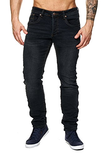 MEGASTYL Herren Hose Light-Washed Jeans Schwarz Slim-Fit 5-Pocket Jogg-Denim, GRÖSSE:W36 / L32 (5-pocket-easy Jean Fit)