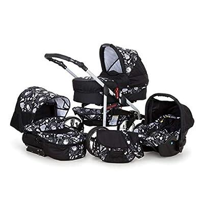 SaintBaby Stroller Pram Pushchair 2in1 3in1 Set All in one Baby seat Buggy X-Move Rocker Skull Black & Skull 3in1 with Baby seat