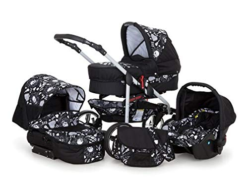 SaintBaby Stroller Pram Pushchair 2in1 3in1 Set All in one Baby seat Buggy X-Move Rocker Skull Black & Skull 3in1 with Baby seat SaintBaby 3in1 or 2in1 Selectable. At 3in1 you will also receive the car seat (baby seat). Of course you get the baby tub (classic pram) as well as the buggy attachment (sports seat) no matter if 2in1 or 3in1. The car naturally complies with the EU safety standard EN1888. During production and before shipment, each wagon is carefully inspected so that you can be sure you have one of the best wagons. Saintbaby stands for all-in-one carefree packages, so you will also receive a diaper bag in the same colour as the car as well as rain and insect protection free of charge. With all the colours of this pram you will find the pram of your dreams. 1
