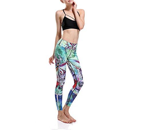 Hippolo donne stampa digitale esercizio yoga pantaloni stretch flessibile pantaloni verde Dragonfly Green S Dragonfly Green